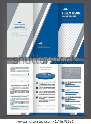 Vector empty trifold brochure print template design with blue and gray elements - stock vector