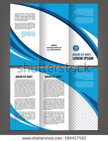 Vector empty trifold brochure template blue design - stock vector