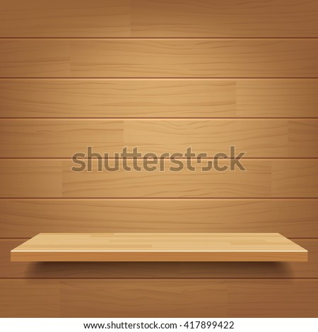 vector empty wooden shelf on wooden wall background - stock vector