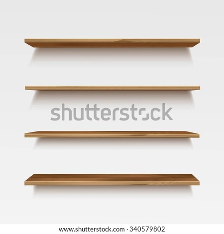Vector Empty Wooden Shelves Isolated on Wall Background - stock vector