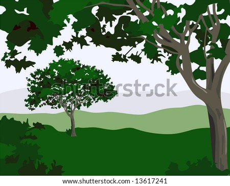 Vector Enchanted Landscape is hand drawn original artwork.