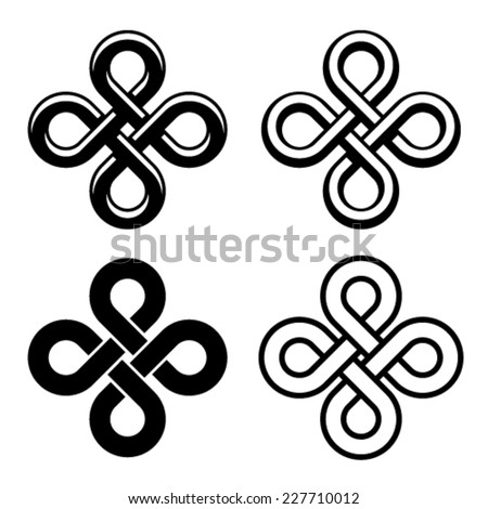 vector endless celtic black white knots - stock vector