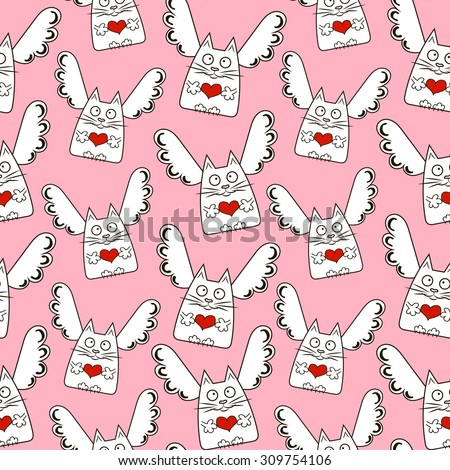 Vector endless seamless pattern with funny cats, angels, hearts. Creative pattern on Valentine's day - stock vector