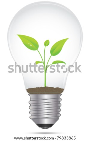 Vector energy ecology concept. Illustration of a plant growing inside a light bulb.