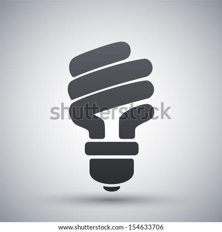 Vector energy saving fluorescent light bulb icon - stock vector