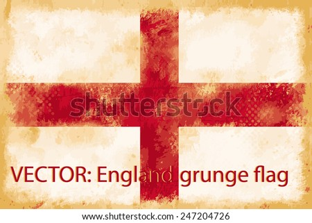 VECTOR: England grunge flag on the vintage paper using  for background - stock vector