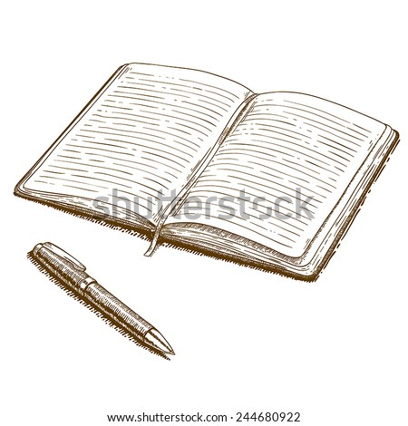 Vector engraving woodcut illustration of notebook and pen on white background - stock vector