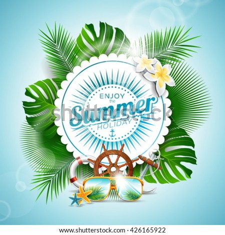 Vector Enjoy the Summer Holiday typographic illustration with tropical plants and seasons elements on light blue background. Eps 10 design. - stock vector