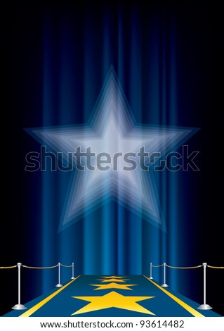 vector entertainment background with blue carpet - stock vector