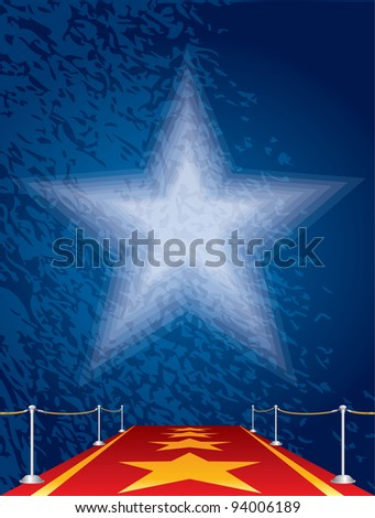 vector entertainment background with stars on red carpet - stock vector