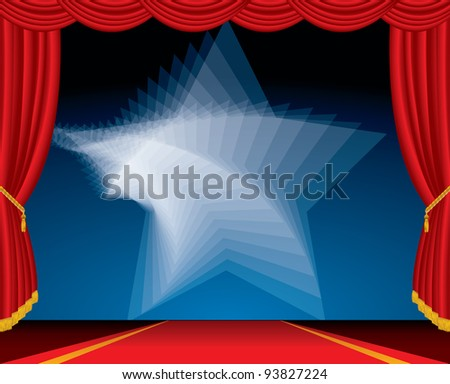 vector entertainment red carpet background with twirl star - stock vector