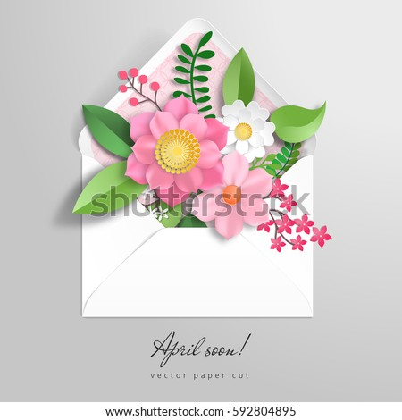 Vector envelope 3 d paper flowers paper stock vector 592804895 3d paper flowers paper cut art inscription april soon mightylinksfo