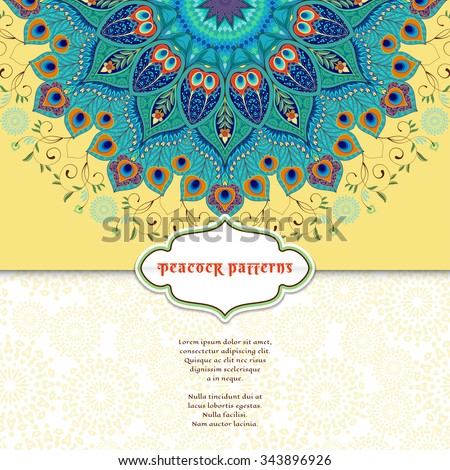 Vector envelope for invitations or congratulations. Round floral pattern. Eastern traditional floral pattern with peacock feathers. Place for your text. - stock vector