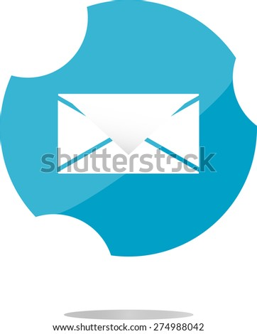 vector envelope icon glass, button isolated on white background - stock vector