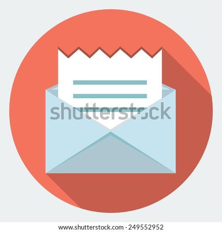 Vector envelope with receipt icon  - stock vector