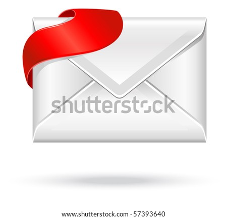 vector envelope with red sign - stock vector