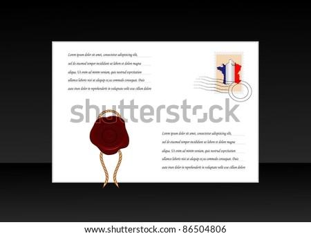 vector envelope with wax seal - stock vector