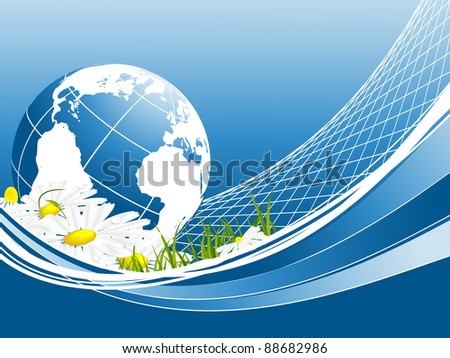 vector environmental background with globe and copy space