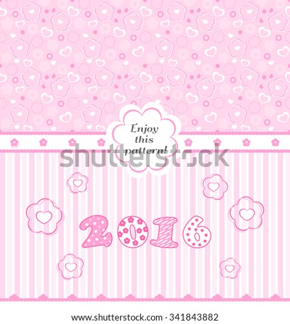 VECTOR eps 10. 2 baby girl SEAMLESS texture! Cute background with pink hearts and bows for child design. WHITE PINK BABY Textile. It is a girl card with pink heart. Valentine's day design with hearts. - stock vector