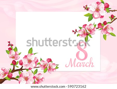 VECTOR eps 10. Big JPEG preview. Design card for Mother's day. Women international day. See more flowers in my SET. Flower blossom for Mother's Women day. Fleur card, beautiful flowers Happy Easter