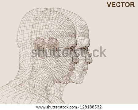 Vector eps concept conceptual 3D wireframe human male head isolated on beige background as metaphor for technology,cyborg,digital,virtual,avatar,science,fiction,future,mesh,vintage or abstract design - stock vector
