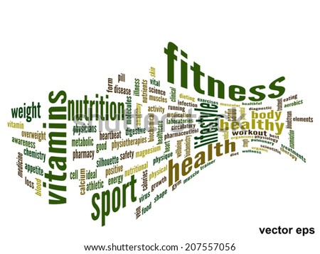 Vector eps concept or conceptual 3D abstract fitness and health word cloud or wordcloud on white background - stock vector