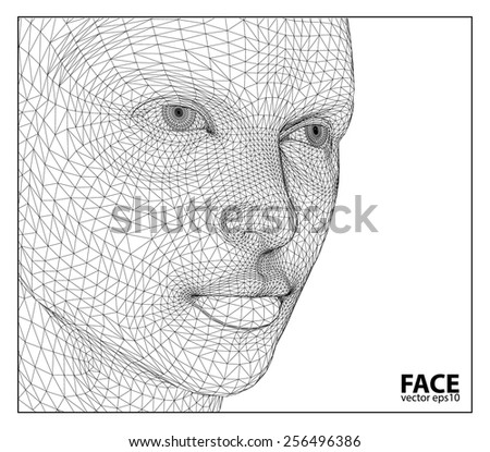 Vector eps concept or conceptual 3D wireframe human female head isolated on beige background - stock vector