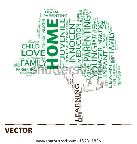 Vector eps concept or conceptual green text word cloud or tagcloud as a tree isolated on white background as a metaphor for child,family,education,life,home,love and school learn or achievement - stock vector