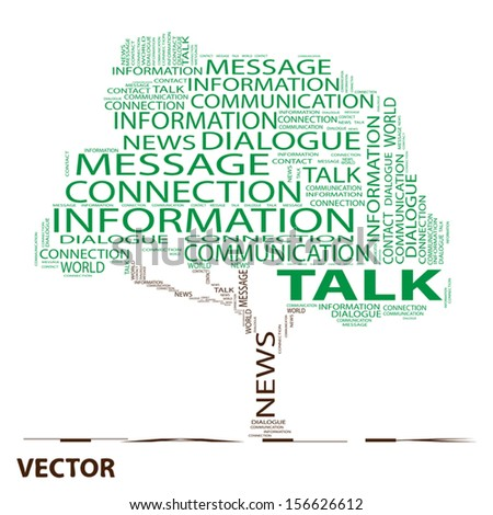 Vector eps concept or conceptual green tree word cloud on white background, metaphor for communication,speech,message,mail,relation,dialog,talk,report,contact,stair, climb,email,internet wordcloud - stock vector