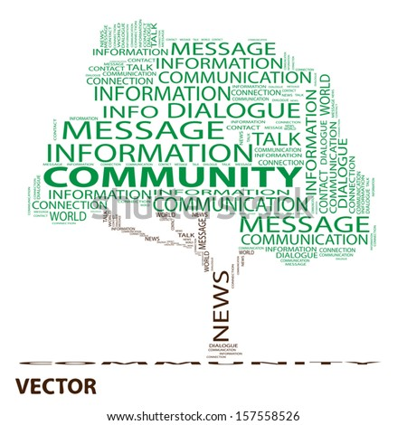 Vector eps concept or conceptual green tree word cloud on white background, metaphor for communication,speech,message,mail,relation,dialog,talk,report,contact,stair, climb,email,interne twordcloud - stock vector