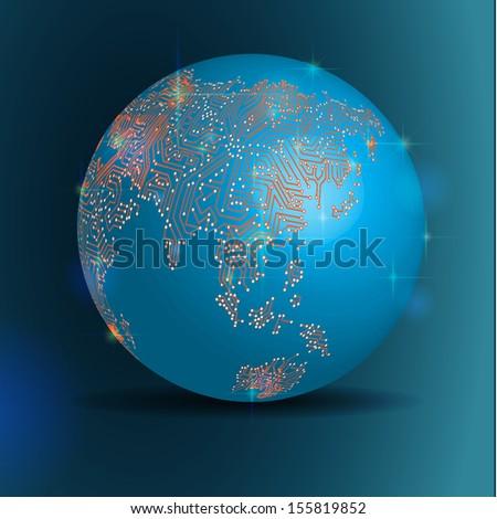 Vector EPS 10- Digital world globe circuit, Globalization, Hi tech and synchronization - stock vector