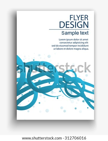Vector eps10 flyer design with abstract glowing lines - stock vector