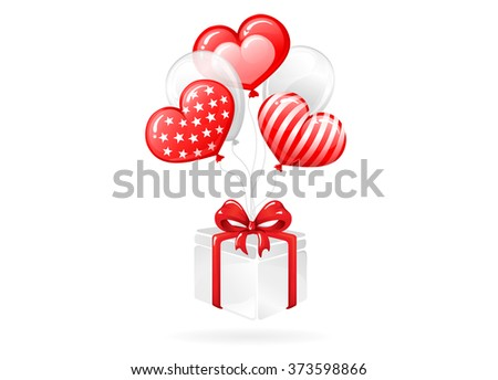 VECTOR eps 10. Get a present! Design with balloons FOR Mother's day, Valentine's day, Greeting, Wedding invitations and others romantic ways to use this illustration. Enjoy new in portfolio!  - stock vector