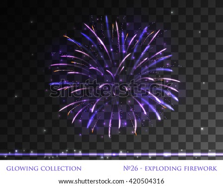 VECTOR eps 10. Glowing collection. Firework, light effects isolated and grouped. Transparent sunlight lens flare, stars. Shining elements and stars. Holiday fireworks. Violet golden Firework    - stock vector