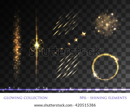 VECTOR eps 10. Glowing collection. Sparkling light elements. Shining stars with sun realistic flare lens. Explosive flash, lightweight cloud lines circle ring. Transparent. Golden Round, lines, circle