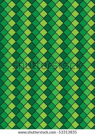 Vector eps8, green variegated diamond snake style wallpaper texture pattern. - stock vector