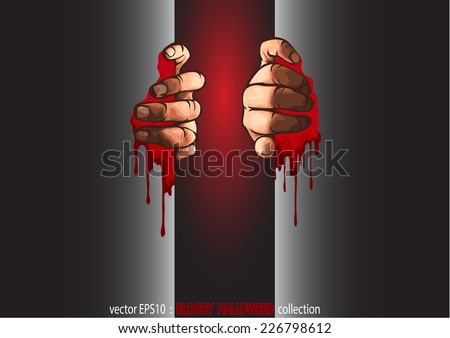 Vector EPS10 Halloween collection. two hands opening the bloody door & Vector EPS 10 Halloween Collection Two Hands Stock Vector 226798612 ...