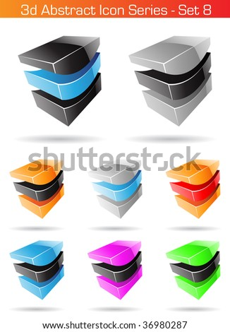 Vector EPS illustration of 3d Abstract Icon Series - Set 8 - stock vector