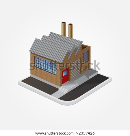 Vector eps 10 illustration of industrial building made of brown brick isolated on white background for real estate brochures or web - stock vector