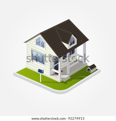 Vector eps 10 illustration of white cozy country wooden American house with a dog kennel and a mailbox on white background for real estate brochures or web - stock vector