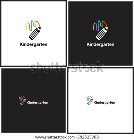 Vector eps logotype or illustration about children education center in outline style