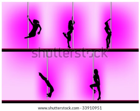 Vector eps 8 of 5 pole dancers silhouettes with sexy poses. Background can be easily removed. Each element on separate layers. - stock vector