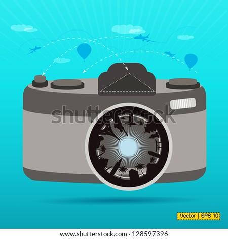 Vector EPS 10-popular landmark in camera lens - stock vector