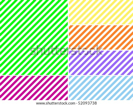 Vector eps8.  Seamless, continuous, diagonal striped background in six spring colors. - stock vector