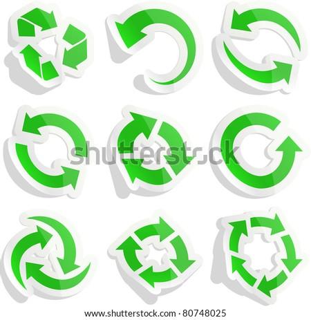 Vector EPS8 set of green sticky arrows. - stock vector