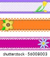 Vector eps10.  Three banners or borders of stripes, polka dots, or gingham with flowers, accent quilt stitches and plenty of copy space. - stock vector