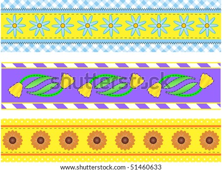 Vector eps10.  Three vector borders with flowers, polka dots, stripes and gingham with accent quilting stitches. - stock vector