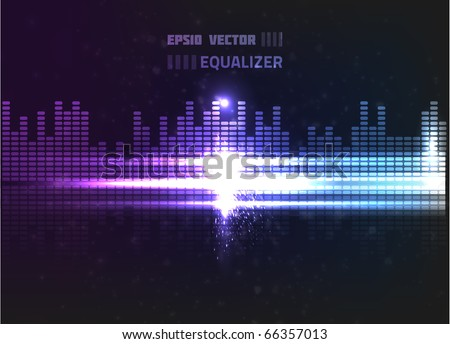 Vector equalizer design. Contains bright lights and blurry circle particles on dark background, colored violet and blue. - stock vector