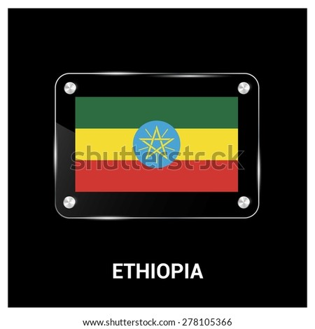 Vector Ethiopia Flag glass plate with metal holders - Country name label in bottom - stock vector