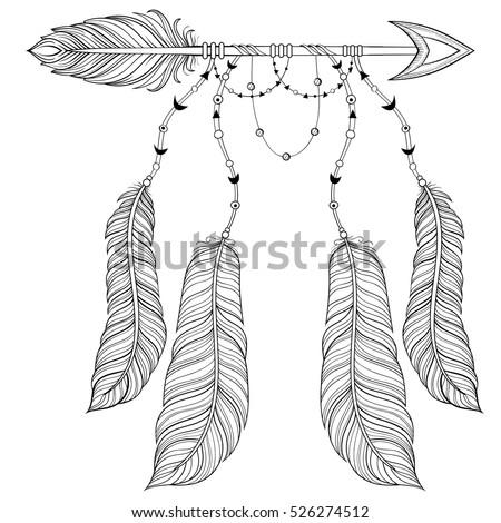 Arrow Ethnic Pattern Feathers Stock Vector 375607969